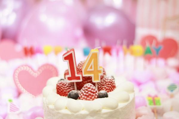 14日の誕生日ケーキ