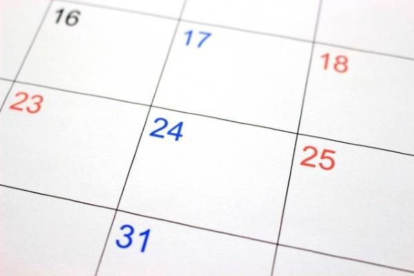 12月後半のカレンダー