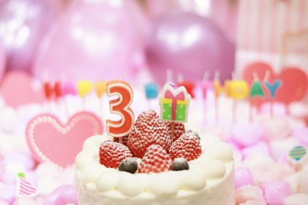 3日のお誕生日のケーキです
