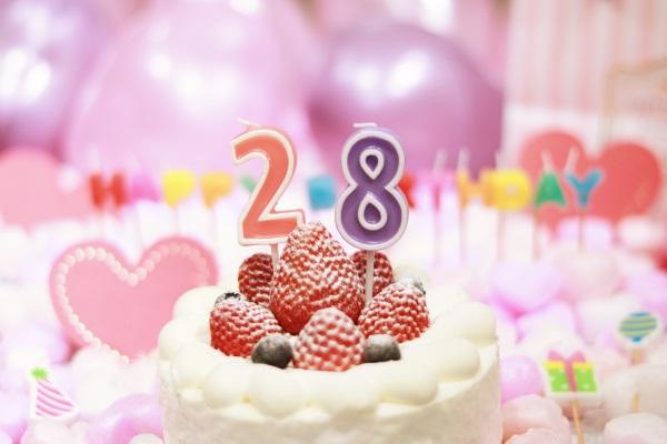 28日の誕生日ケーキです